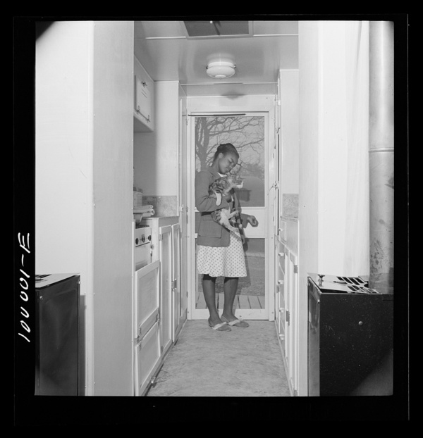Arlington, Virginia. FSA (Farm Security Administration) trailer camp project Interior of expansible trailer, showing kitchen equipment