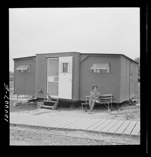 Arlington, Virginia. FSA (Farm Security Administration) trailer camp project Exterior of an expansible trailer