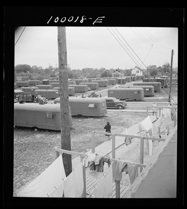 Arlington, Virginia. FSA (Farm Security Administration) trailer camp project General view of the project from the roof of the community building