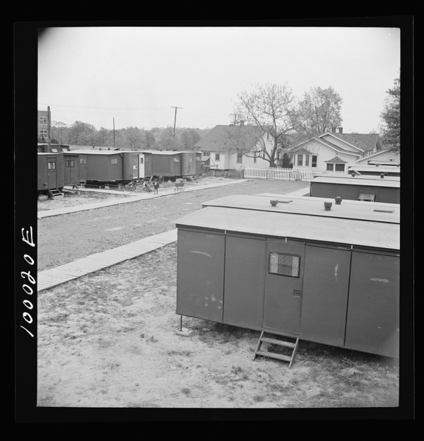 Arlington, Virginia. FSA (Farm Security Administration) trailer camp project View of the project showing expansible trailers