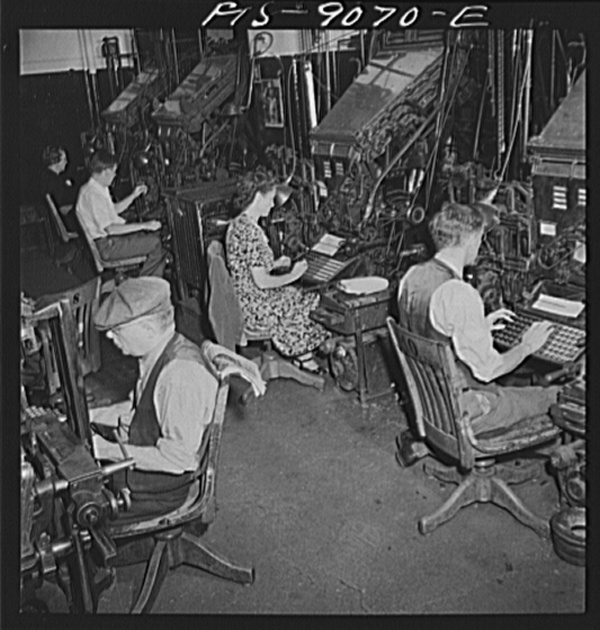 New York, New York. Composing room of the New York Times newspaper. Linotype operators