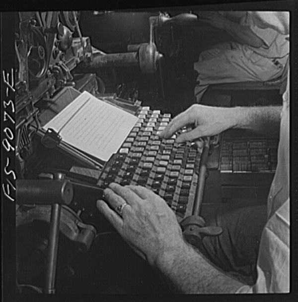New York, New York. Composing room of the New York Times newspaper. Linotyper's hands