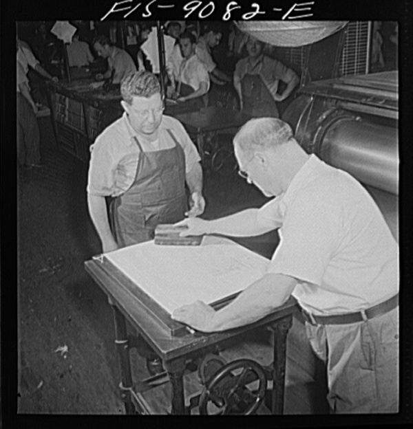 "New York, New York. Composing room of the New York Times newspaper. Paper mat is made in ""rock crusher"" and inked for visibility"