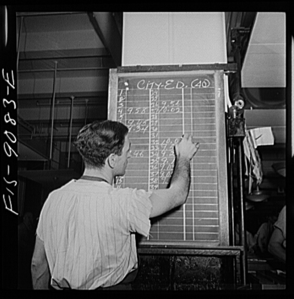 New York, New York. Composing room of the New York Times newspaper. As make-up of each page is completed, time is marked up on board