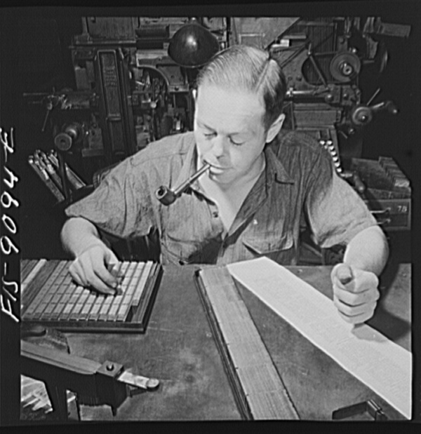New York, New York. Composing room of the New York Times newspaper. Times daily index to the news is set partly by hand. This man has been doing it for fifteen years