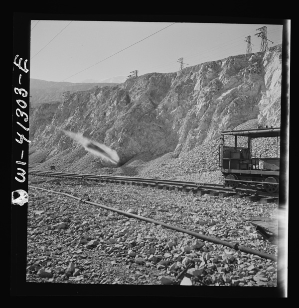 Bingham Canyon, Utah. Blasting at an open-pit mine of the Utah Copper Company