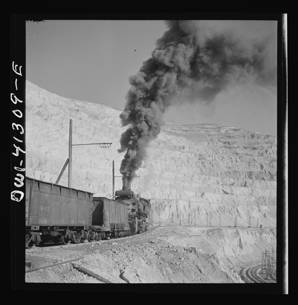 Bingham Canyon, Utah. Ore train at a mine of the Utah Copper Company