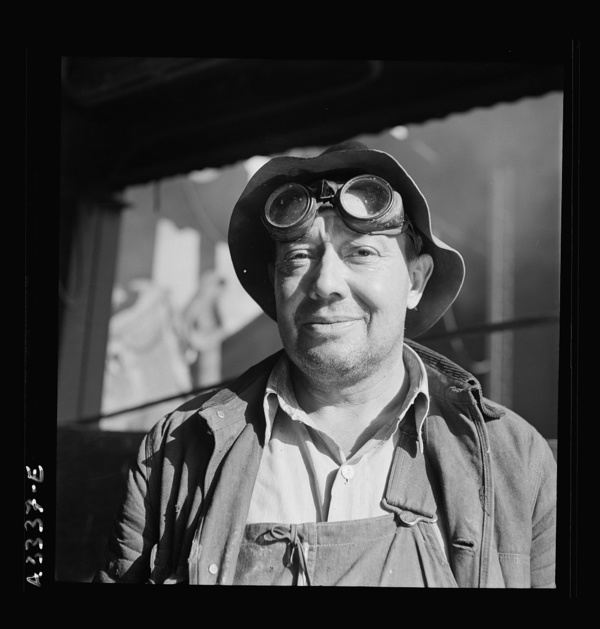 Columbia Steel Company at Geneva, Utah. Bulldozer operator who helps in the construction of a new steel mill which will make important additions to the vast amount of steel needed for the war effort