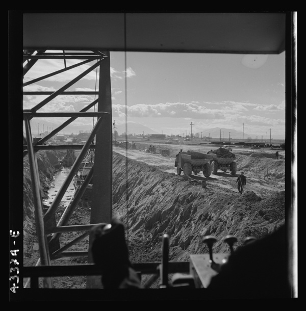 Columbia Steel Company at Geneva, Utah. Draglines are working day and night excavating for the building of open hearth furnaces for a new steel mill which will make important additions to the vast amount of steel needed for the war effort
