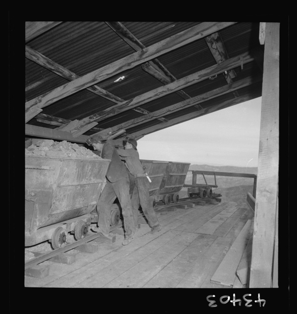 New Idria, California. A mining car used at the New Idria Quicksilver Mining Company's workings to haul cinnabar, an ore containing mercury