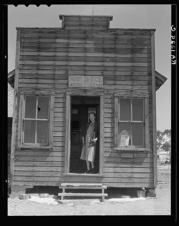 Post office and postmistress, view number two. Widtsoe, Utah