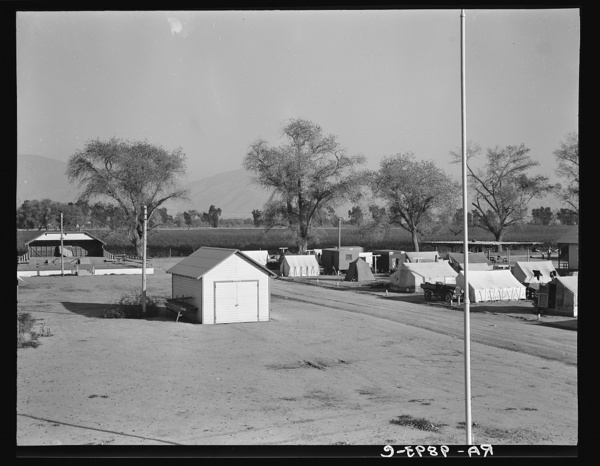 View of Kern migrant camp, community center at left. California