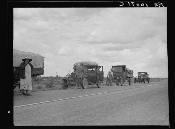 Three related drought refugee families from Oklahoma on highway near Lordsburg, New Mexico