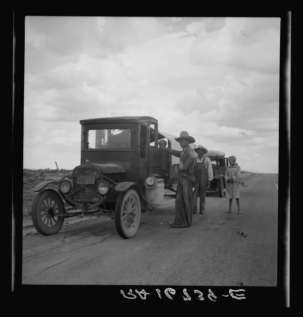 Drought refugees stopped along the highway near Lordsburg, New Mexico