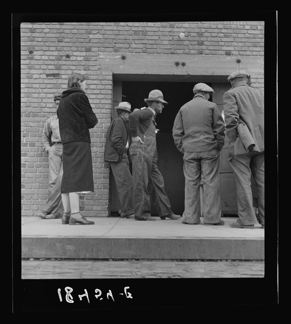 Destitute farm labor families come to Farm Security Administration distributing depot to apply for food grant. Kern County, California