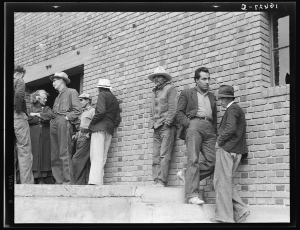 Mexicans, field laborers, on strike in cotton picking season, apply to Farm Security Administration (FSA) for relief. Bakersfield, California