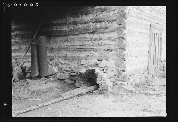 Construction detail of tobacco barn showing method of firing