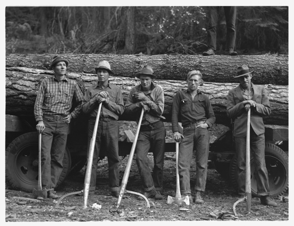 Five members of Ola self-help sawmill co-op. Gem County, Idaho
