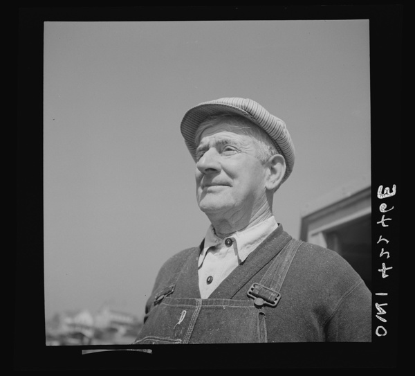 Gloucester, Massachusetts. A shore worker engaged in the fish packing industry