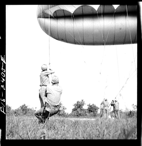 Parris Island, South Carolina. Special Marine units in training at Parris Island are learning how to bed down a big barrage balloon