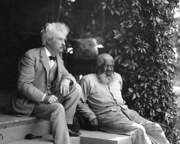 Mark Twain, with John Lewis, a lifelong friend and inspiration for the character Jim in 'Adventures of Huckleberry Finn',