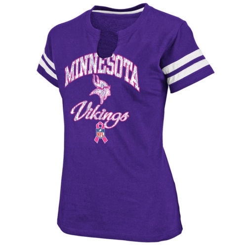 Minnesota vikings go for two ladies purple breast cancer for Breast cancer nfl shirts