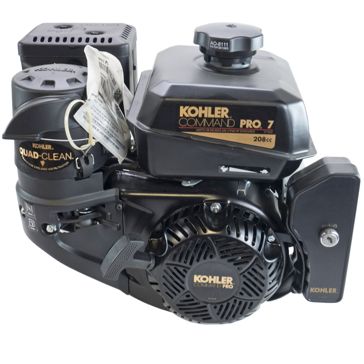 7HP Kohler Command Pro, 2:1 Wet Clutch Gear Reduction 22MM Keyed Shaft, Recoil and Electric Start,  CIS, OHV, Fuel Tank, Muffler, Kohler Engine, Kohler
