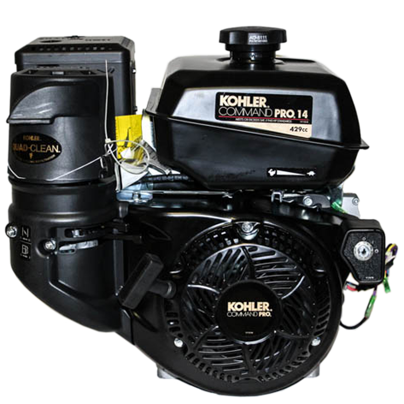 14HP Command Pro, 2:1 Wet Clutch Gear Reduction Horizontal 25mm Keyed Shaft, Recoil and Electric Start, OHV, CIS, LOS, Cyclonic Air, Scratch & Dent Kohler Engine