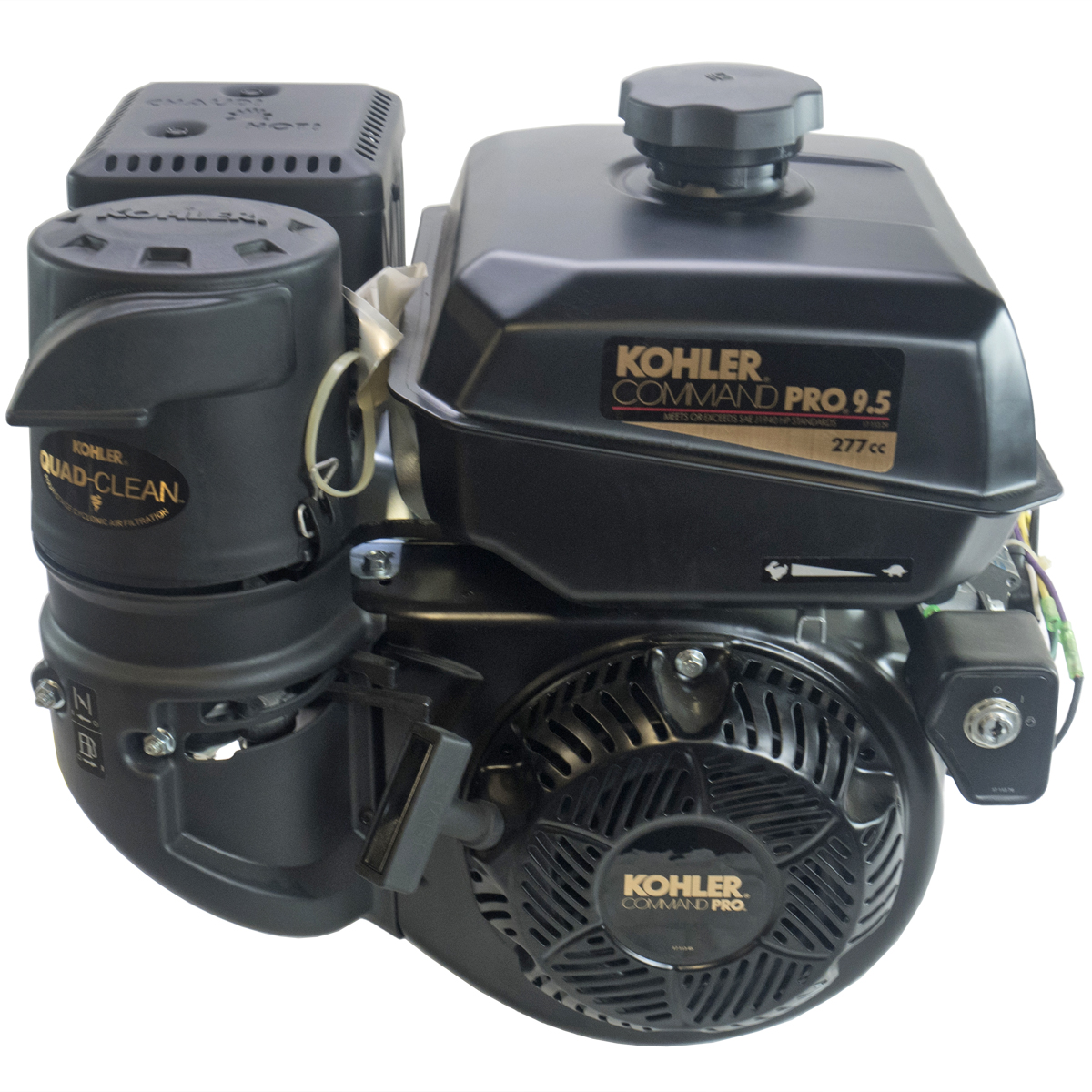 9.5HP Command Pro, 2:1 Wet Clutch Gear Reduction Horizontal 25mm Shaft, Recoil and Electric Start, OHV, CIS, Cyclonic Air Kohler Engine