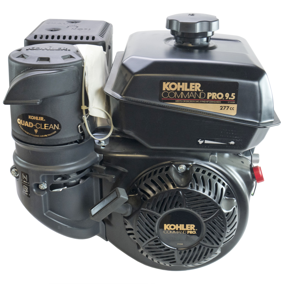 9.5HP Command Pro, 2:1 Wet Clutch Gear Reduction Horizontal 25mm Shaft, Recoil Start, OHV, CIS, Cyclonic Air Kohler Engine
