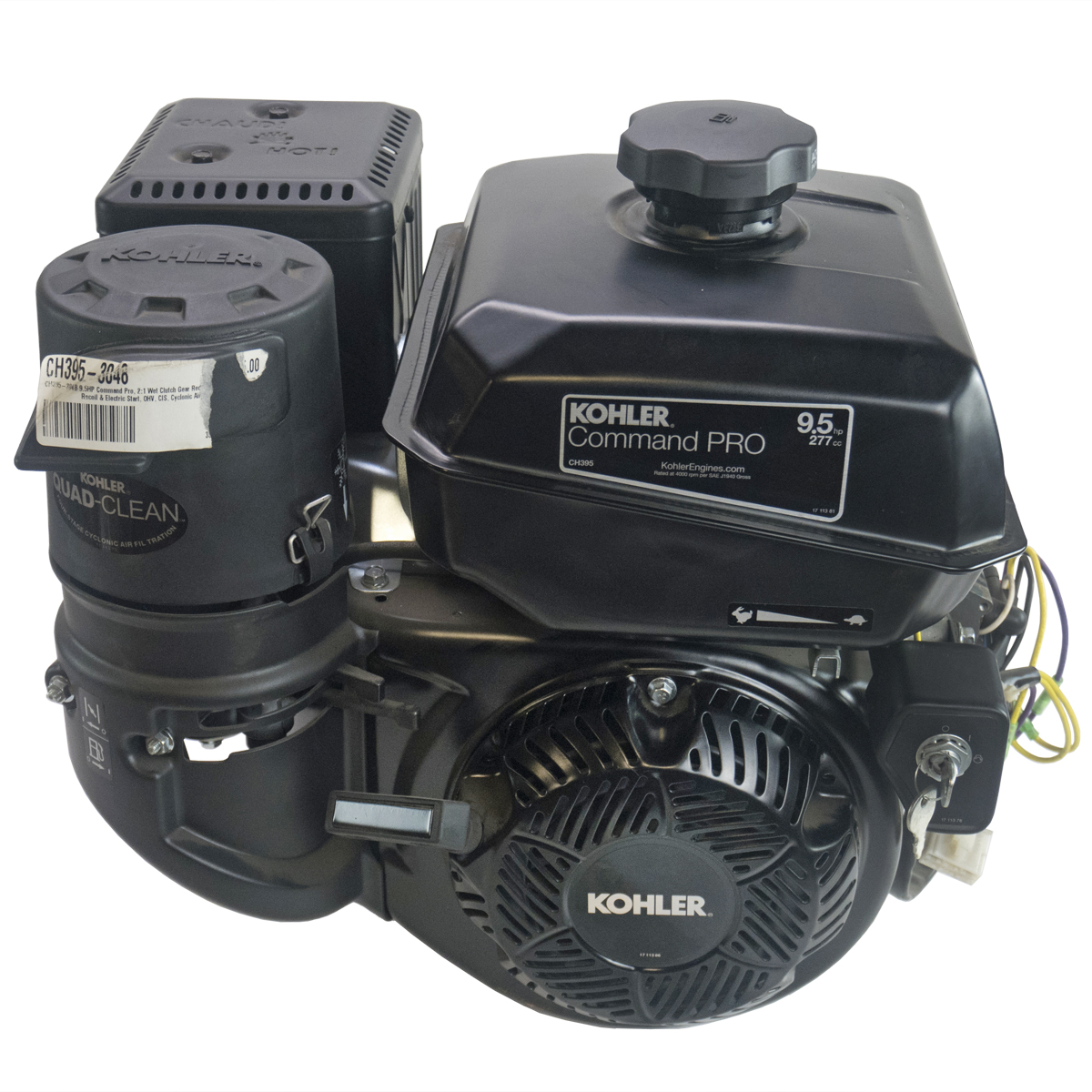 9.5HP Command Pro, 2:1 Wet Clutch Gear Reduction Horizontal 25mm Shaft, Recoil & Electric Start, 18 Amp Alt, OHV, CIS, Cyclonic Air Kohler Engine