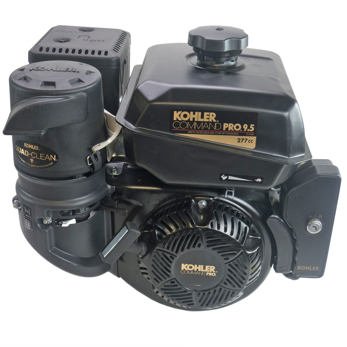 9.5HP Command Pro, 2:1 Wet Clutch Gear Reduction Horizontal 25mm Shaft, Recoil & Electric Start, 10 Amp Alt, OHV, CIS, Cyclonic Air Kohler Engine