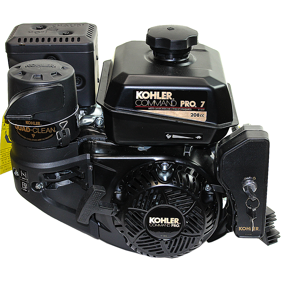 7HP Kohler Command Pro, 2:1 Wet Clutch Gear Reduction 22MM Keyed Shaft, Recoil and Electric Start, 10 Amp Alt, CIS, OHV, Fuel Tank, Muffler, Kohler Engine