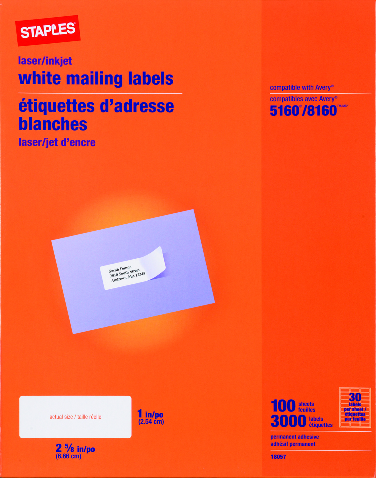 package address label template - staples white inkjet laser address labels 1 x 2 5 8