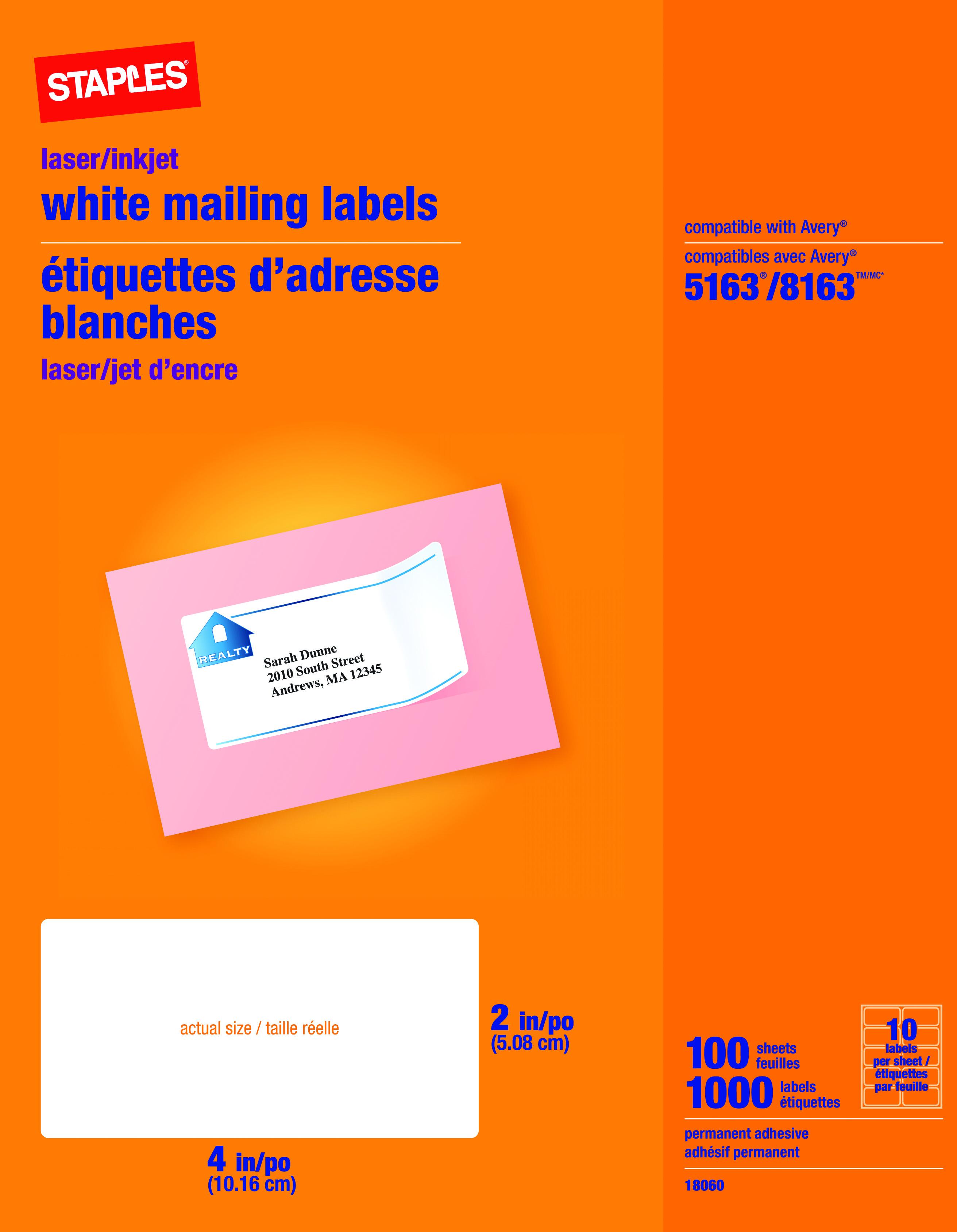 staples inkjet laser shipping labels 2 x 4 white 1 000 box