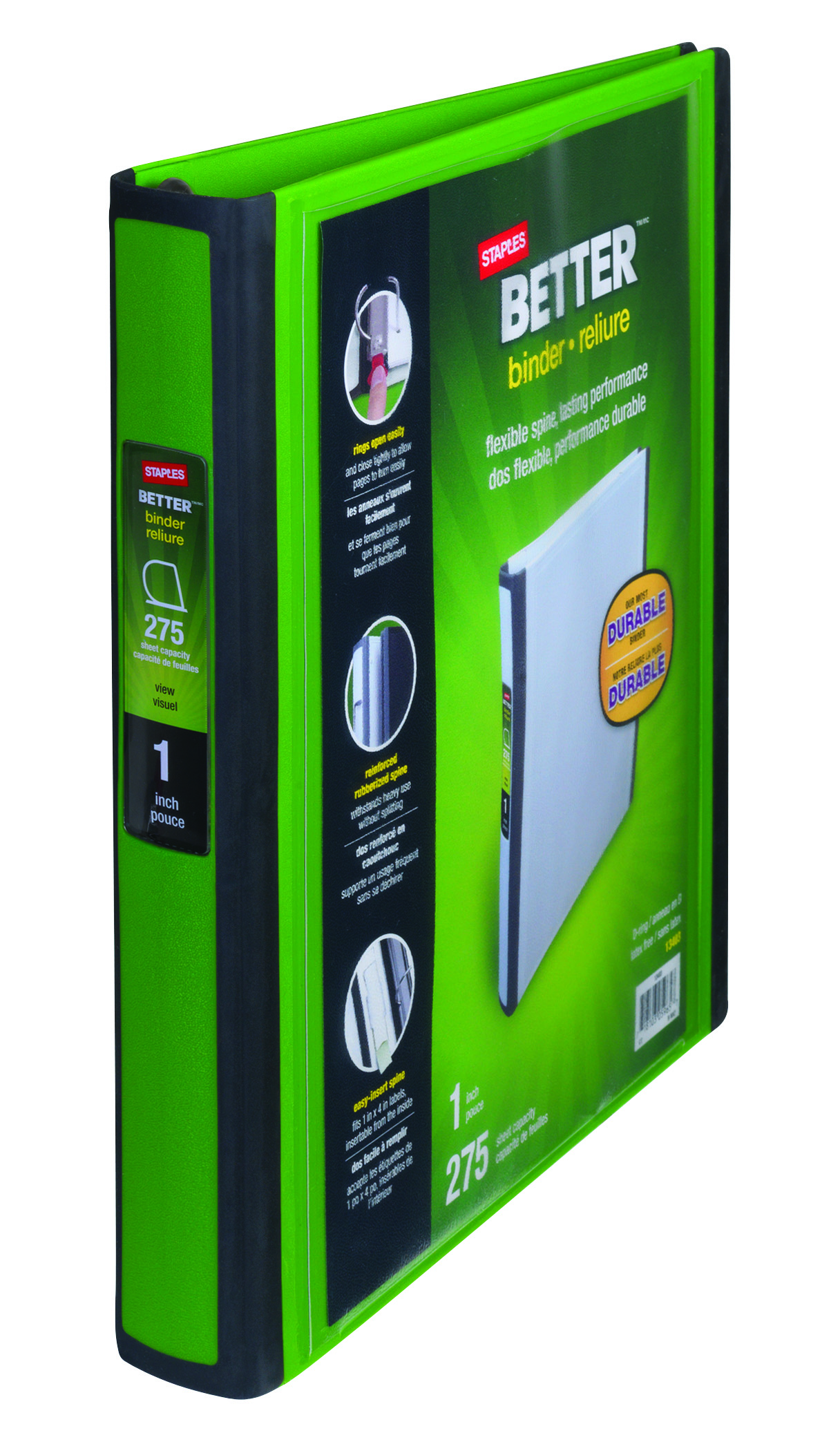 Staples Better 1-Inch D 3-Ring View Binder, Green (19063