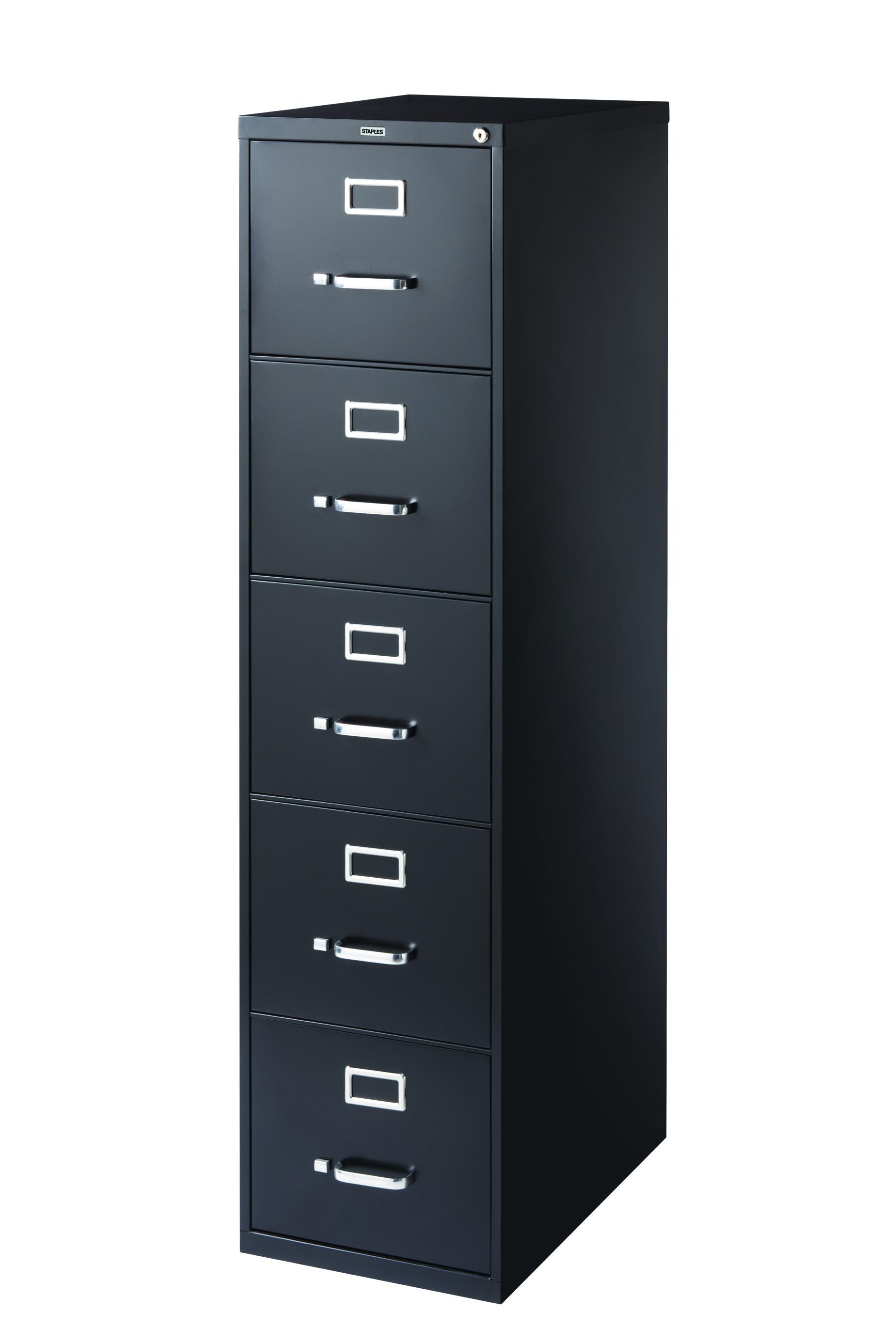 Staples 5 Drawer Letter Size Vertical File Cabinet Black