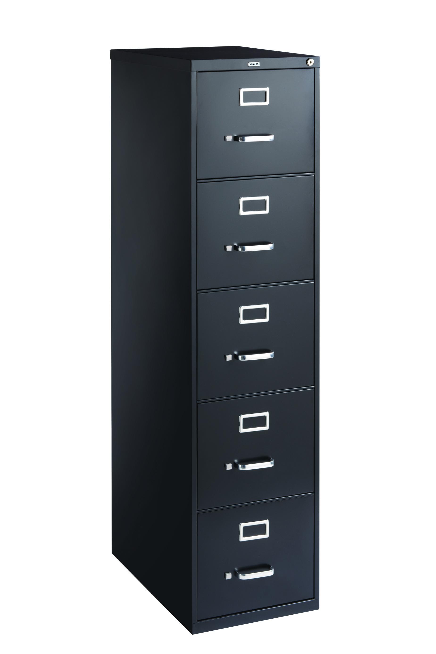 Staples 5 drawer letter size vertical file cabinet black for Furniture 5 letters