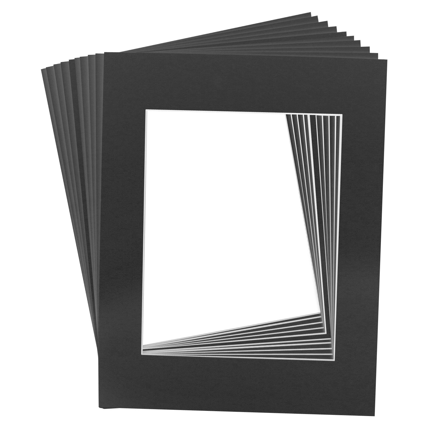 10 Art Mats Premier Quality Acid-Free Pre-Cut 11x14 Black Picture ...