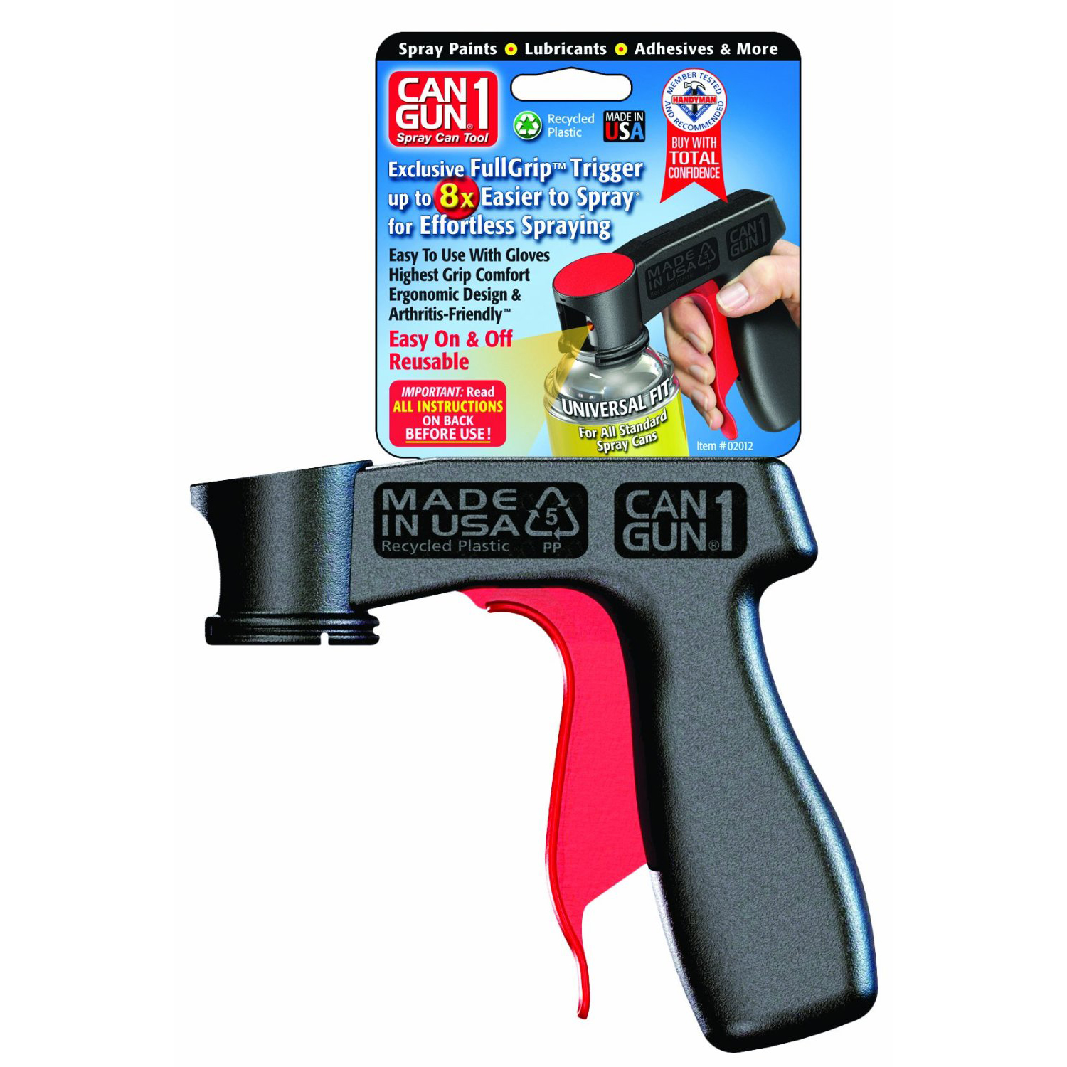 Can gun1 full grip trigger spray can tool recycled plastic for Spray gun for oil based paints