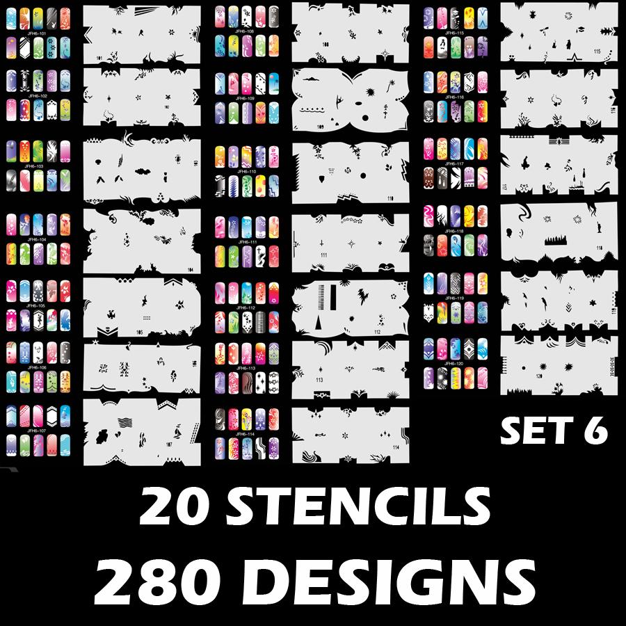 280 Airbrush Nail Art STENCIL DESIGNS Set 6 - 20 Template Sheets Kit ...