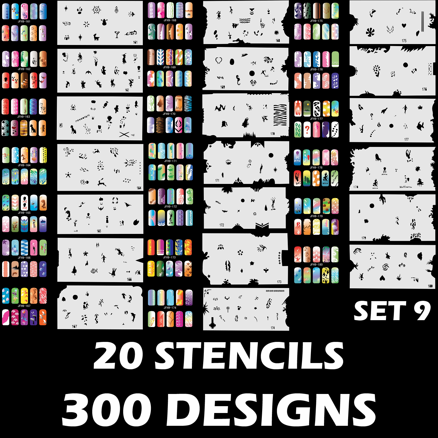 300 Airbrush Nail Art Stencil Designs Set 9 20 Template Sheets Kit