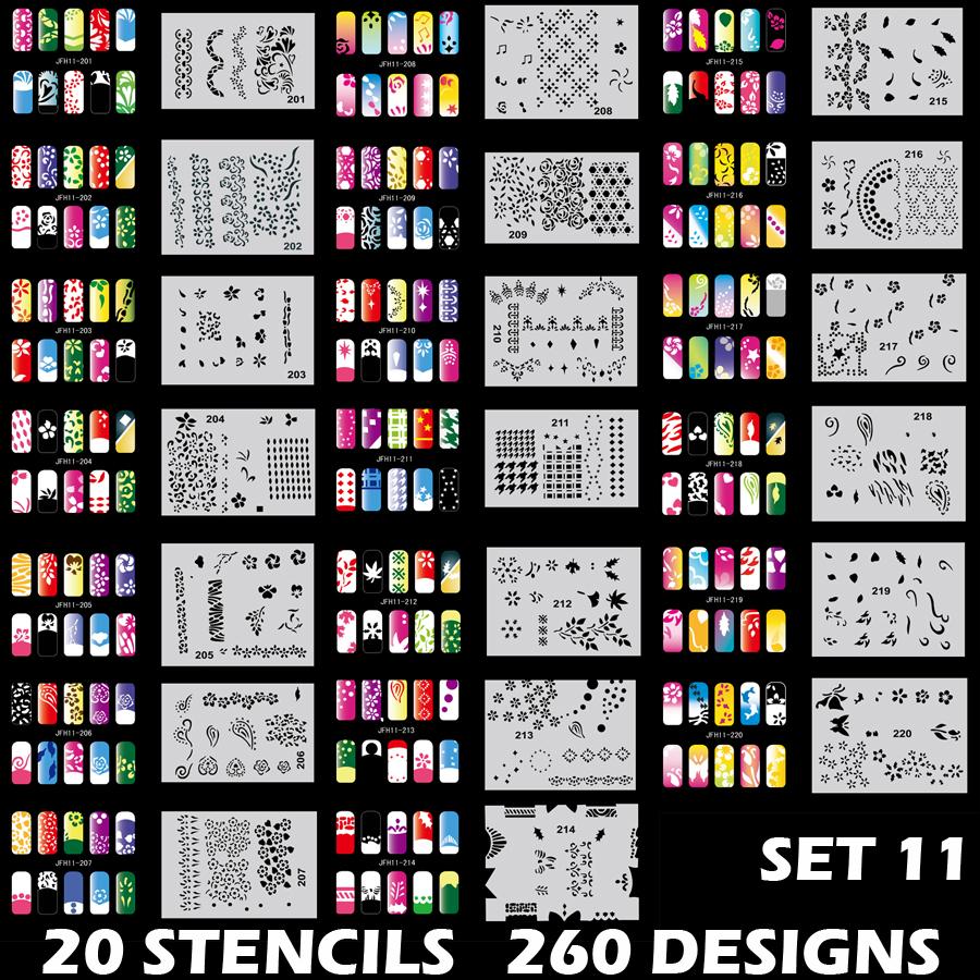 Set 11 260 Airbrush Nail Art STENCIL DESIGNS 20 Template Sheets Kit ...