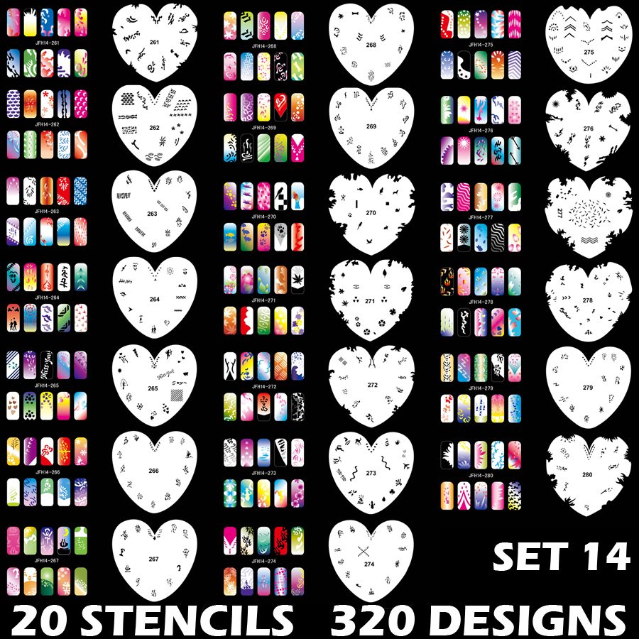 Set Of 20 Heart Shaped Stencil Sheets With An Average 16 Different Nail Art Design Patterns On Each 45 Sheet 320 Designs