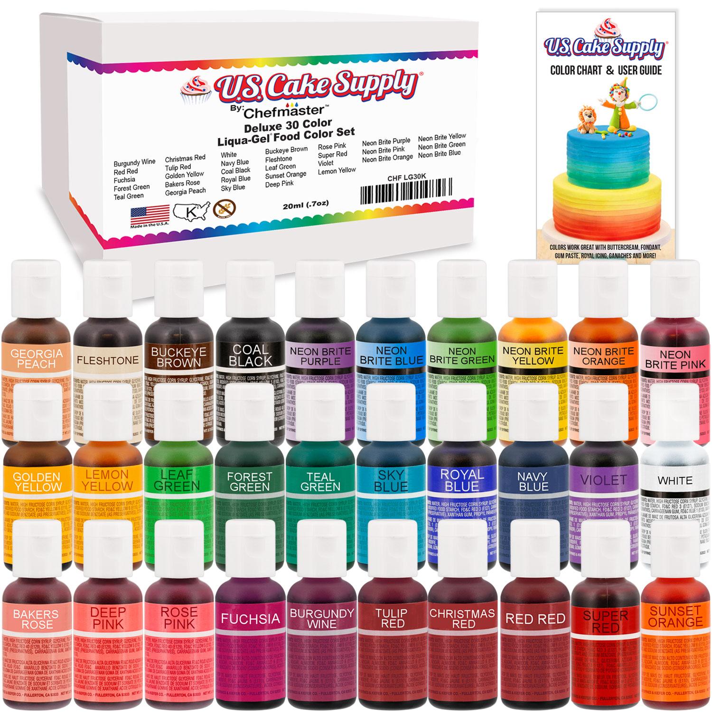 30 Color Cake Food Coloring Liqua-Gel Ultimate Set .75 fl. Oz ...