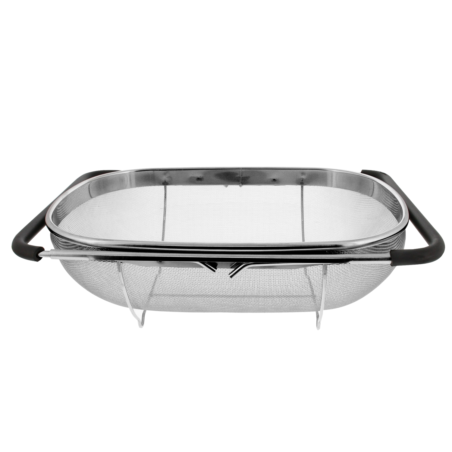 Over the sink stainless steel oval fine mesh colander