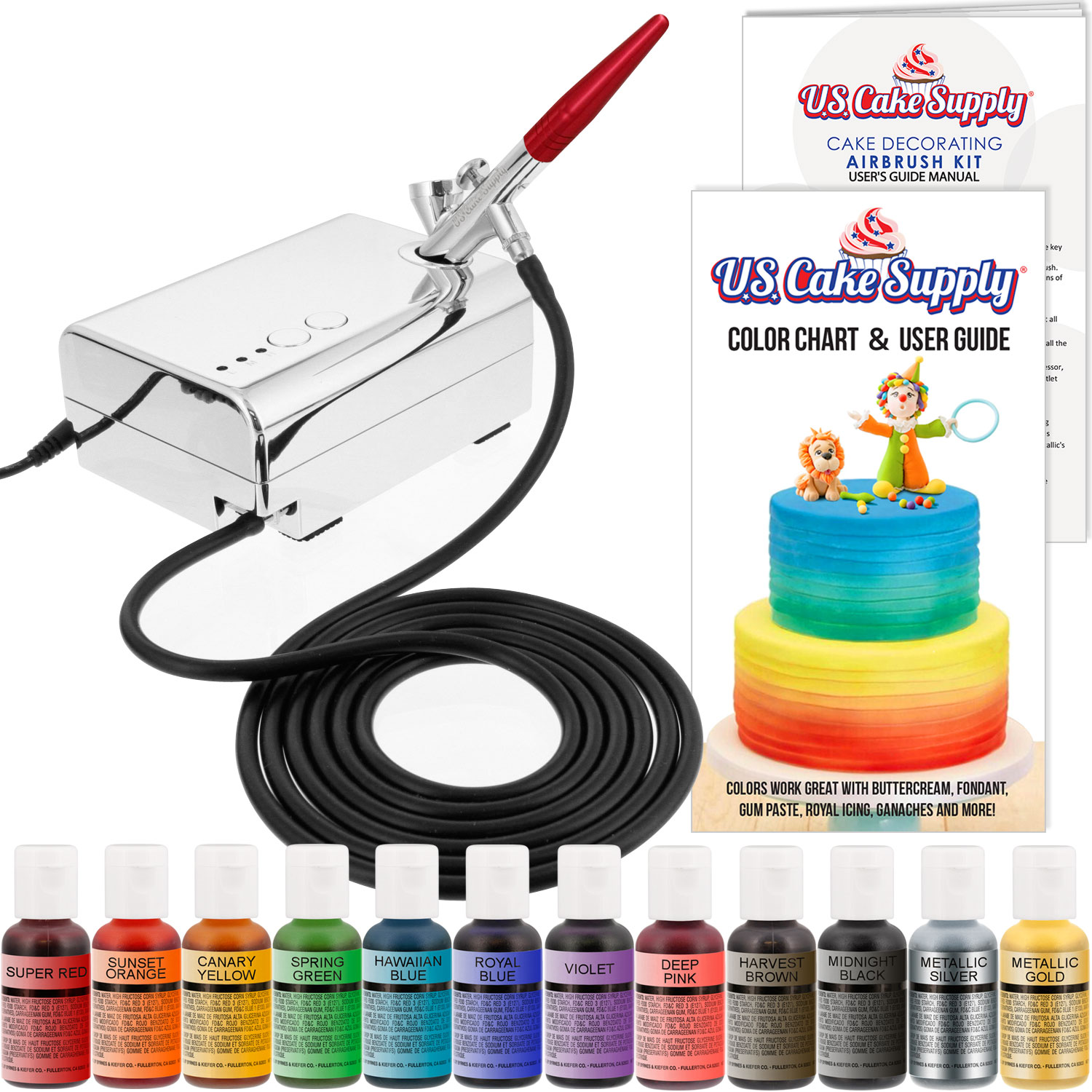U.S. Cake Supply Complete Cake Decorating Airbrush Kit Compressor ...