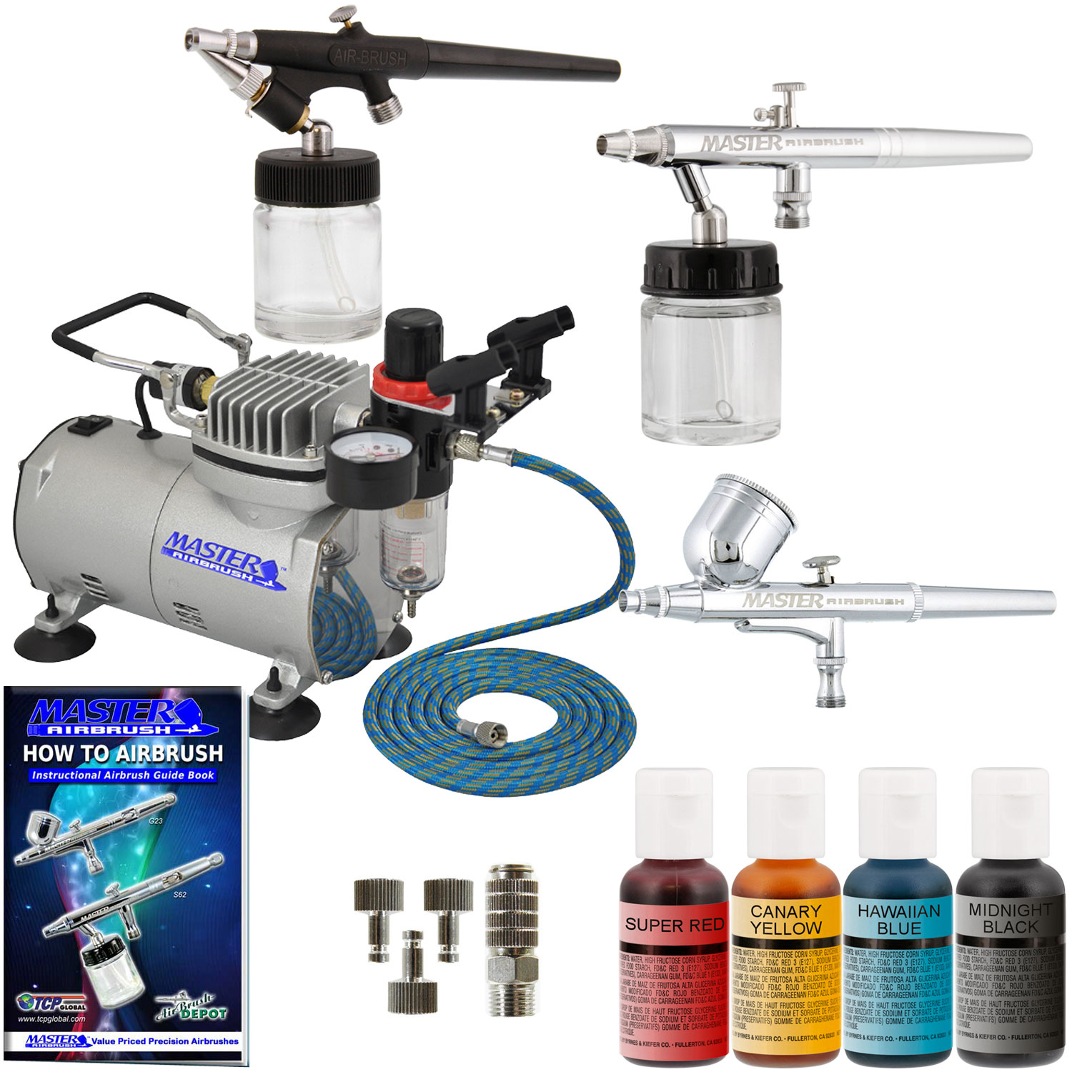 3 Airbrush Cake Decorating Compressor Kit, 4 Color Chefmaster Food ...