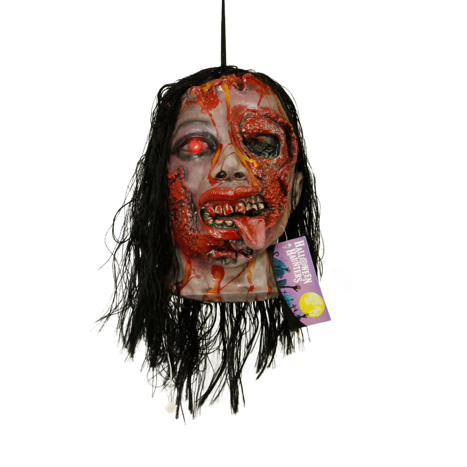 Moving Halloween Decorations: Halloween Hanging Animated Decapitated Zombie Head Mouth