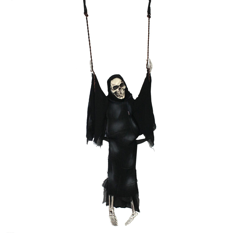 Halloween Haunters Swing Skeleton Ghost Reaper Swinging Tree Prop ...